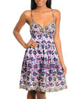 WOMENS DRESS Summer Floral Cotton eyelit embroidered babydoll built n bra S M L