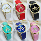 Womens Five-Pointed Star Style Leather Band Analog Quartz Wrist Watch