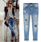 New Women Distressed Destroyed Ripped Hole Cropped Washed Denim Boyfriend Jeans
