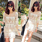 Women sexy Lace Crochet Hollow Bikini Cover Up holiday Beach Swimwear sundress