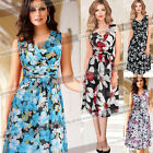 Womens Sexy Bohemian Floral Print Chiffon Casual Party A Line Skater Dress 802