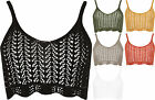 New Womens Knit Crochet Strappy Sleeveless Crop Bra Vest Ladies Stretch Top 8-14