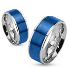 ►ALLIANCE RING WOMAN MAN TEENAGER STEEL & PLATE BLUE CHEAP NEW ►M0026