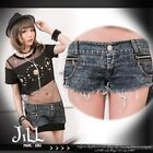Punk rock anthem pussy cat doll engraved lace Sexy mini hot jeans shorts C237