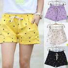 Women Elastic Waist Cats Print Cotton Shorts Hot Short Pants 6 Colors DR509-514