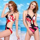 New Women V-neck  Halter One Piece Chic Swimwear Monokini Swimsuit Bikini N4U8