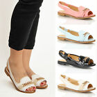 Womens Ladies Summer Beach Casual slingback peep toe chain sliders sandals size