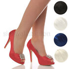 WOMENS LADIES HIGH HEEL WEDDING EVENING RUCHED PROM PEEP TOE COURT SHOES SIZE