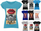 Womens Turn-up Sleeve Print Slogan T-Shirt Ladies Jersey Tank Top Size 8-14