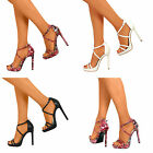 Womens Slim Platform Barely There High Stiletto Heel Strappy Sandal Shoes