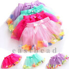 Colorful Petal Baby Kids Girls Dancewear Tutu Bow Pettiskirt Princess Skirt