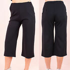 AO94 Womens Wide Leg Culottes Trousers Ladies Plain Summer Flared Pleated Pants