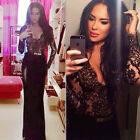Elegant Women Sexy Lace Slit Bodycon Evening Party Cocktail Club Long Maxi Dress