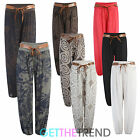 WOMENS FLORAL PRINT ALI BABA HAREM PANTS TROUSERS BAGGY BELTED SUMMER PANTS