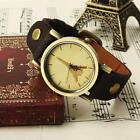 Vintage Retro Paris eiffel tower Brown Leather Band women's Ladies wrist watch