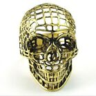 316L Stainless Steel Titanium Gold Hollow Gothic Skull Rock N' Roll Ring M071328