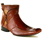 Mens Dress Boots Ankle High Zipper Slip On Long Tapered Leather Lined Delli Aldo