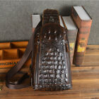 New Men Geunine Leather Crocodile Travel Shoulder Messenger Sling Pack Chest Bag