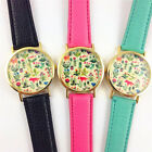 Women's Wrist Watch Leather Floral Printed Analog Quartz Watches Free shipping