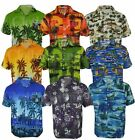 Mens Hawaiian Fancy Dress Beech Floral Shirt Holiday Short Sleeve Casual