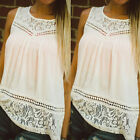 Fashion Women Summer Casual Vest Top Sleeveless Lace Blouse Tank Tops T-Shirt