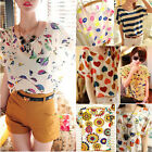 Womens Summer Casual Chiffon Top Batwing Short Sleeve Print Loose Shirt Blouse