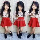 Baby Kids Girl Sweet Cotton Long Sleeve Blouse and Mini Skirt 2pcs Outfit N4U8