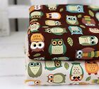 Owl owl 100% Cotton Fabric Animal Owls Animals Brown Ivory Quilting (ff168-169-