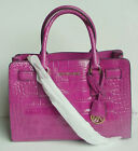 NWT Authentic MICHAEL KORS Dillon Fuschia Croc Embossed Leather EW Satchel $348