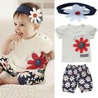 Toddler Infant Girls Baby Outfits Headband+T-shirt+Floral Pants Kids Clothes Set