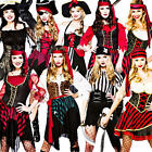 Pirate Lady + Tights Ladies Fancy Dress Halloween Womens Book Adult Costume New
