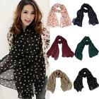 Girls Women Unique Long Wrap Lady Shawl Polka Dot Chiffon Scarf Scarves Stole KZ