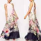 Elegant Women's Floral Print Club Evening Party Maxi Long Sleeveless Loose Dress