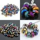 Wholesale Frosted/Polished Hematite Spacer Large Hole Charm Bead Fit Bracelet