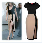 Women Casual Bodycon Evening Party Cocktail Slim Mini Dress Side Open Skirt W10