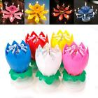 Nice Musical Lotus Flower Rotating Happy Birthday Party Gift Candle Lights US ER