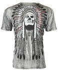 AFFLICTION Men T Shirt TRIBE Indian Skull BLACK Tattoo Motorcycle Biker UFC $48