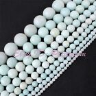 """4-12mm Faceted Round Natural Amazonite Gemstone For DIY Jewelry Making Beads 15"""""""
