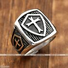 Mens 316L Stainless Steel Black Cross Shield Biker Finger Rings Punk Gothic Cool