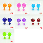 Fashion Candy Color Rainbow Double Side Two Ball Earrings Stud lollipop Crystal