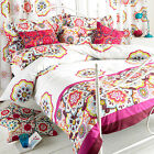 Paoletti Festival Floral Fuchsia Pink White Cotton Duvet Quilt Cover Bedding Set