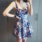 Women Floral Print Dress V Neck Slip Dress Middle Waist Bodycon Party Dress