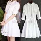 Elegant Lapel Dress Long Sleeve Slim Dress Shirt Collar Women Summer Dress