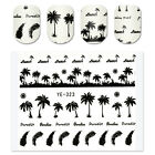1 Sheet Nail Art Coconut Trees Water Decals Summer Style Transfer Sticker Anchor