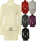 New Womens Knitted Polo Neck Buckle Belted Long Sleeve Ladies Top Jumper 8 - 14