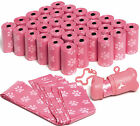 OxGord Dog Poop Bags Biodegradable for 700 Pink Waste Scoops w Leash Dispenser
