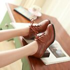 2016 Brogue Womens Lace Up heels Mid Chunky Oxford Wing Tip leisure Shoes size