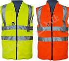 Hi Viz Padded Reversible Work Waistcoat / Body Warmer S-5xl Yellow Orange
