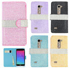 LG Leon C40 Premium Bling Diamond Wallet Case Pouch Phone Cover + Screen Guard