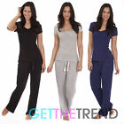 Womens Plain Tshirt Trouser Pyjamas Set Ladies PJs Full Length Top and Trousers